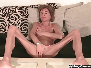 Very skinny granny strips missing and masturbates (compilation)