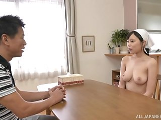 Prexy Japanese maid Shiraishi Rin wants cum on her huge tits
