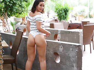 Murkiness amateur bombshell Seleste exposes her panties in public