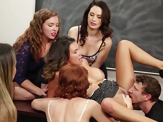 A group of girls are enjoying a constant cock in an intense orgy