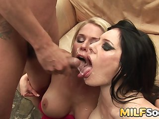 Chunky tits MILFs inviting anal drilling