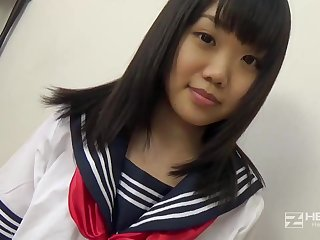 Asian honey, Natsuno Himawari is wearing say no to college uniform while obtaining smashed and fellating prick