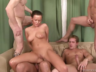 Cop lady Linet Slag swallows cum in an interracial orchestra bang
