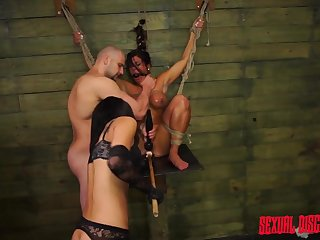 Rope bounce submissive sucks big flannel and gets fucked