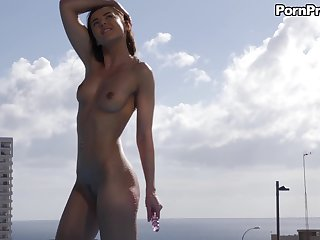 Amazing brunette Sybil makes a dick disappear round her pussy after she cum alone