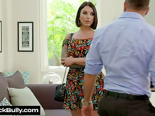 Delicious milf Ivy Lebelle gives a wonderful blowjob and gets the brush muff nailed