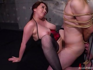 Busty Japanese milf bondage porn with obedient follower groupie