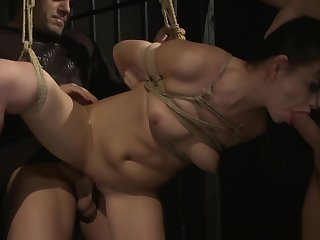 Caged cutie spitroasted while restrained