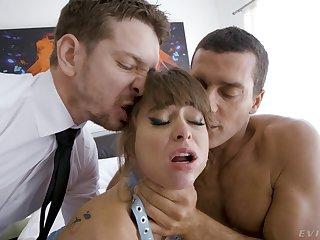 Pornstar Riley Reid enjoys while being fucked like a slut in trilogy