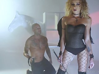 Curly French bitch Angel Emily is besotted by hardcore doggy anal fuck