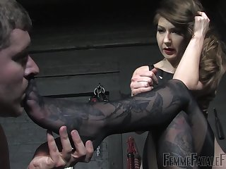 She's into foot fetish with an increment of dominating her male slave