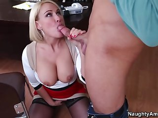 Fantastic Yankee cougar with enormous boobies, Mellanie Monroe got drilled in say no to office after fellating manmeat