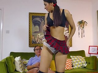 Amateur girl Sahara Knite in miniskirt fucked hard from behind