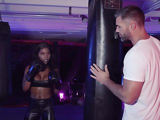 Interracial fucking with ebony darling Sarah Banks and a white dick