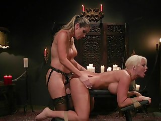 MILF ass fucked coupled with spanked far lesbian femdom XXX