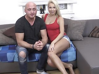 Shy blonde fitness babe swallows at her first casting