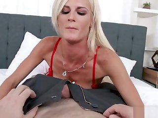 Hot Blonde MILF In Overheated Lingerie with the addition of Stockings Teases with the addition of Fucks Soft-pedal