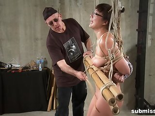 Amateur nerd girl pledged and torture with a vibrator and toys