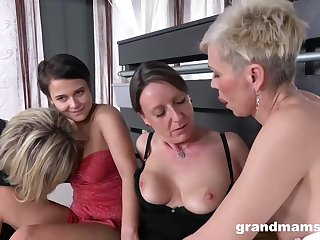 Kinky grannies are having a fairy group sex increased by using a strap- in the first place to spice it upon