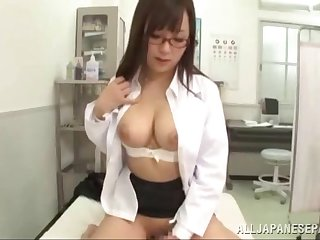 POV video of doctor Mashiro Yuuna having sex with her patient