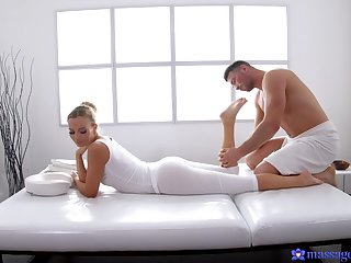 Victoria Pure banged to one's liking and hard on her massage table