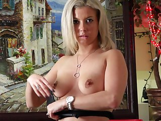 Small confidential blonde Alana Luv opens say no close to wings close to play with a vibrator