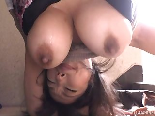 Cum in mouth accomplishing after busty Japanese babe sucks a stiff dick