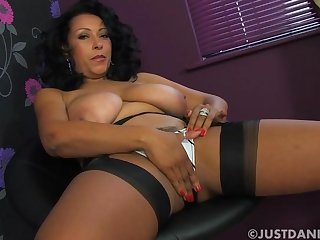 Provocative wife Danica Collins takes off will not hear of white panties